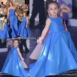 Unique Designs Pageant Dresses Australia - Blue Satin A-Line Flower Girls Dresses 2019 Jewel Sleeveless Beaded Unique Design Girls Pageant Dresses With Train Robes de fête