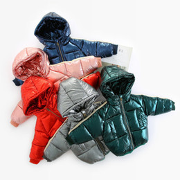 Boys Red Parka Australia - WLG boys girls winter thick short parkas kids hooded zipper cotton warm clothes baby casual pink red blue green gray clothing