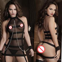 Sm Suits Australia - Women sexy lingerie set SM Bandages perspective Uniform temptation +T pants+chain handcuffs sexy bodysuit erotic underwear