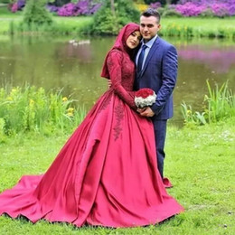 $enCountryForm.capitalKeyWord UK - Vintage Long Sleeves Ball Gown Wedding Dresses High Neck With Hijab Arab Muslim Women Wedding Bridal Gowns Plus Size Z137