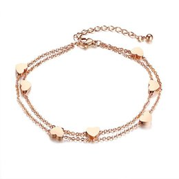 $enCountryForm.capitalKeyWord UK - Heart Charm Layered Anklet For Women Double Layer Rose Gold Color Stainless Steel Female Holiday Beach Jewelry