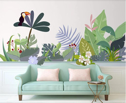 simple flower painting art UK - 3d wallpaper custom photo murals Nordic hand-painted simple plant flowers tropical flowers simple background wall decor wall art pictures
