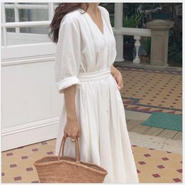 women white linen dresses NZ - New 2019 Women Dresses Spring Summer Cotton Linen Ladies Pleated Long White Dresses V Neck Lace Up Bow vestidos de verano R135