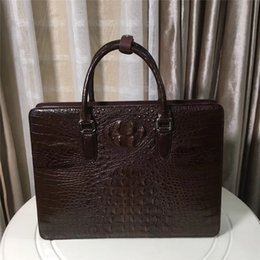 Genuine Crocodile Skin Leather NZ - Password Lock Closure Genuine Crocodile Skin Large 15'' Laptop Briefcase Authentic Alligator Leather Male Top-handle Handbag