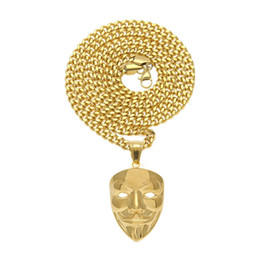 vendetta chain NZ - Fashion-s Hip Hop Jewelry Gold Cuban Link Chain V Vendetta Mask Pendant Necklace Fashion Jewelry