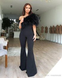 $enCountryForm.capitalKeyWord Australia - New Modern Party Dress Black Jumpsuit Evening Dress 2019 One Shoulder Feather Pant Fashion Formal Gowns