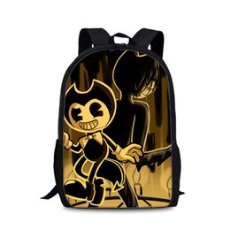 Chocolate Machines UK - 2019 Hot Sale Bendy And The Ink Machine School Bags For Boys Backpack Famous Game Printed Backpack For Teenager Student Book Bag