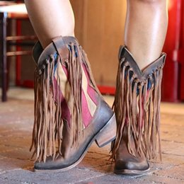 Ethnic shoEs womEn online shopping - Long Tassel Knight Boots Women Western Boot Winter Ethnic High Heel Casual Shoes Lady Stylish Retro Fringe Pointed Boot Cowboy