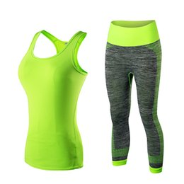 Chinese  Quick Dry Yoga Set Vest Pants Sport Suit Fitness Tights Top Jogging Suits For Women Gym Tracksuit Yoga Sportswear manufacturers