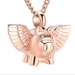 $enCountryForm.capitalKeyWord NZ - IJD9732 Stainless Steel Cremation Rose Gold Flying Pig Cremation Souvenir Necklace for Ashes Urn Keepsake Memorial Pendant Jewelry