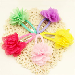 chiffon flowers hair clips 2019 - New Hot Beautiful Chiffon Flower Hair Clips Baby Girl Hair Clips Accessories Kids Barrettes Girls Flower Styling cheap c