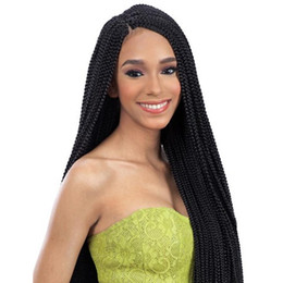 China African American Braided Wigs Synthetic Lacefront Heat Resistant Fiber Hair Glueless Synthetic Lace Front Braided Wigs For Black Women cheap braided wigs for african american women suppliers
