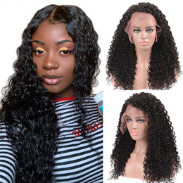 $enCountryForm.capitalKeyWord Australia - Deep Wave Glueless Indian Hair Lace Wigs 100% Human Hair Curly Lace Front Wigs With Natural Hairline 150% Density