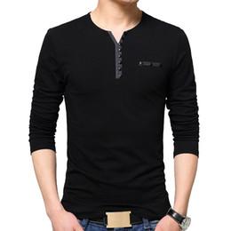 Oversized T Shirts For Men Fashion Australia - wholesale Autumn Fashion T Shirt Men Oversize Oversized T Shirt Long Sleeve Henry Collar Cotton Slim Fit Tops T-shirt for
