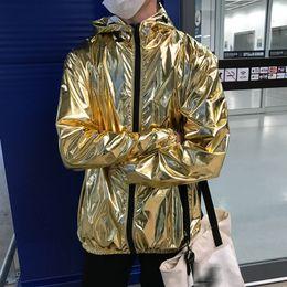 Wholesale zip up bomber jacket resale online – Men s Jackets Metallic Color Bomber Jacket Mens Outerwear Hooded Spring Coat Femme Zip Up Waterproof Jackets Gold Silver