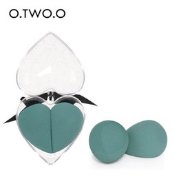 China O.TWO.O 2pcs set Makeup Sponge Heart-Shape Box Non-Latex Material Cosmetic Puff Powder Foundation Use Beauty Make Up Tools 100pcs lot DHL cheap latex cosmetic sponge suppliers