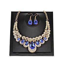 $enCountryForm.capitalKeyWord Australia - Fashion Necklace Set Water Drop Pendant Short Choker Necklace Red Blue Crystal Diamonds Collar Necklace Earrings Wedding Party Jewelry