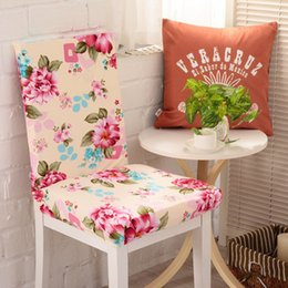 wholesale banquet seat covers UK - Removable Spandex Elastic Floral Print Pattern Stretch Chair Cover Dining Party Hotel Banquet Chair Seat Cover Slipcovers