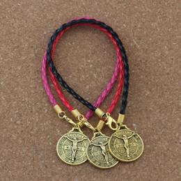 32ae7631d21c15 20pcs lots leather bracelet Antique gold Saint Jesus Benedict Nursia Patron  Medal Crucifix Cross alloy Charms Pendants Bracelet B-83