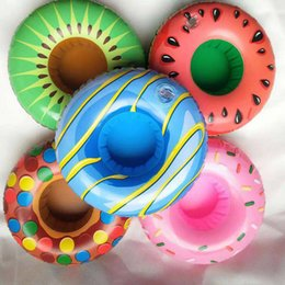 Wholesale Fruit Inflatable Cup Holder Donuts Kiwi Watermelon Drink Cellphone Snacks Float Coasters for Summer Swimming Pool Beach Party Supplies