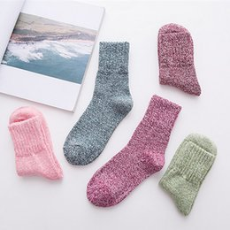 dab964222ca 2018 Thickened Rabbit Line Pure Color Winter Warm Yarn Cotton Cashmere High  Quality Women Socks Wholesale 5pair lot