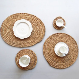 round placemats wholesale NZ - 11cm 18cm 36cm Round Woven Placemats For Dining Table Heat Resistant Wipeable Placemat Non-slip Washable Kitchen Place Mats