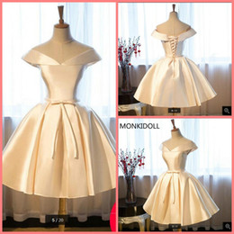 $enCountryForm.capitalKeyWord NZ - Ball gown short real picture prom dress off the shoulder v neck sexy petite girls prom gowns puffy informal corset prom dresses 2019
