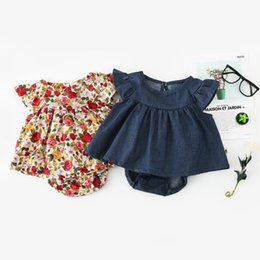 Denim applique Dress online shopping - Little Girls Clothes Suits Infant Floral Denim Dress Tops Bloomers Set Ruffles Fly Sleeve Round Collar Summer Kids Clothing for M T