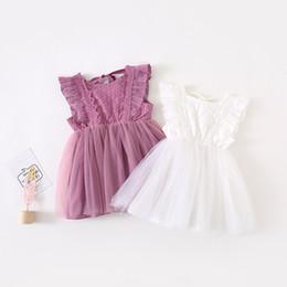 $enCountryForm.capitalKeyWord Australia - Ins New Summer girls Clothes dress Sleeveless Solid Color Lace Mesh Tutu Dress 100% Cotton Summer girl Clothing Dress