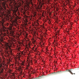 3d flower backdrop Canada - 12pcs lot Artificial silk rose 3D flower wall wedding backdrop decoration flower stage decoration Red