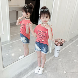 korean kid cute t shirt UK - New Fashion Little Girls Clothing Set Floral Printing T-Shirt Top & Denim Shorts Summer Korean Cute Toddler Teenager Kids Outfit