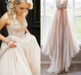 $enCountryForm.capitalKeyWord Australia - Blush Pink Lace Top Wedding Dresses Sweetheart Backless Bow Sash Boho Wedding Gowns Robe de Mariage Bridal Dress