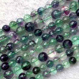 "pink green cross bracelet NZ - Genuine Natural A Multi Color Clear More Green Yellow Purple Fluorite Semi-precious stones Faceted Necklace Bracelet Round Beads 15.5"" 05853"
