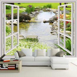 RiveRs photos online shopping - Custom Wall Mural Wallpaper Modern Simple D Window Garden Small River Flower Grass Fresco Living Room Bedroom Photo Wall Paper