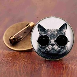 China Accessories Cats Australia - Cute cat cartoon brooch jewelry fashion accessories simple design supernatural steampunk cat animal brooches gift pins