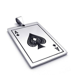 cards ace spades Australia - Mens Ace Of Spades Necklace Silver Tone Lucky Poker Pendant Stainless Steel Casino Playing Cards Male Fortune Jewelry