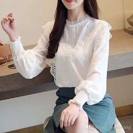 6e6b193b4c6c White Lace Collars Womens Australia - white hollow lace chiffon blouse  shirt long sleeve womens tops