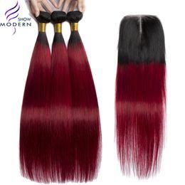 $enCountryForm.capitalKeyWord Australia - Modern Show brazilian hair Straight Bundles with Frontal Ombre Hair Bundles 1b Burgundy Unprocessed Human Hair