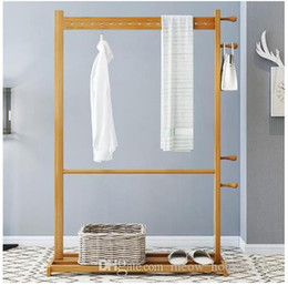 clothes floor hanger Canada - Bamboo hanger clothes tree Bedroom shelf bamboo clothes rack Household floor hanger Bathroom towel rack Bedroom Furniture