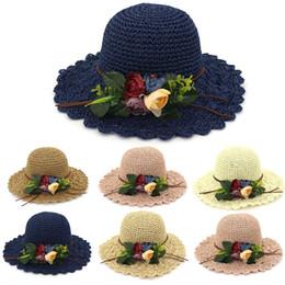 $enCountryForm.capitalKeyWord Australia - Summer Straw Hat Women Big Wide Brim Flower Beach Hat Sun Visor Foldable Sunscreen UV Protection Panama Hat Bone Chapeu Feminino