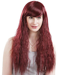 $enCountryForm.capitalKeyWord Australia - European and American hot style wine red long style curly hair women's fashion wig can be ironed and dyed women's wig