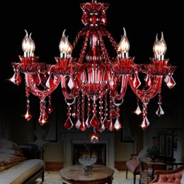 $enCountryForm.capitalKeyWord Australia - European color red crystal chandelier diffuse coffee shop net cafe light wedding bedroom candle light KTV compartment lamps and lanterns
