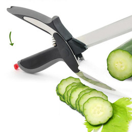 chop cutter UK - 2 IN 1 Kitchen Cutter Board Vegetable Cutting Slicer Smart Knife Cheese Food Meat Chop Cutters Multi-Function Fruit Scissors