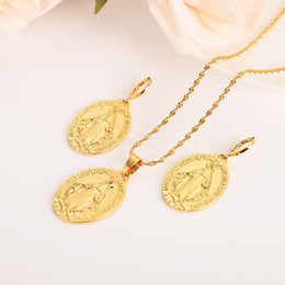 Christmas Gifts Mothers Australia - Mother Virgin Mary Necklace Earrings Set Fine Solid Gold Finish Catholic Religious crystalJewelry Set Christmas Gift Women