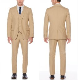 $enCountryForm.capitalKeyWord Australia - 2019 Brand New Beige Classic Style Two Button Groom Tuxedos Notch Lapel Groomsmen Best Mens Wedding Suits (Jacket+Pants+Vest)