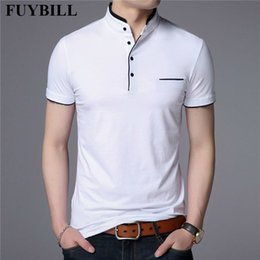 Discount fashion men clothes t shirt collar FuyBill Fashion Mandarin Collar Short Sleeve T Shirt Men Spring Summer New Style Top Men Brand Clothing Slim Fit Cotton