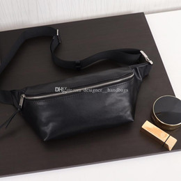 plain black silver crossbody NZ - Designer crossbody bags plain men waist chest bags letter black classic ball pattern sheepskin genuine leather purse