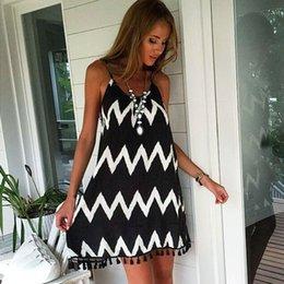 $enCountryForm.capitalKeyWord Australia - Hot Women's Sexy Loose Beach Dress Halter Sling Summer Hippie Dress Vestidos Beachwear Wave Print Tassel Spaghetti Strap