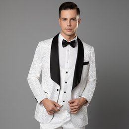 006c2c082a Best party wear suits online shopping - White Lace Embroidery Mens Formal  Wedding Tuxedos Party Celebrity