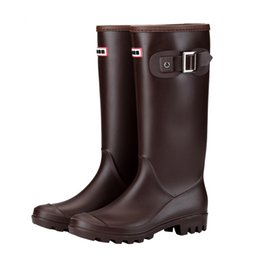 Discount warming oils - Women Winter Rain Boots Waterproof Oil Resistant Insulated Warm Lined High Buckles Block Heel Cold Weather Wellington Pu